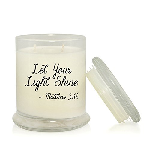 Lets Shine Jesus Light - Let Your Light Shine 8.5 oz. Soy Candle -- Inspirational Bible Quotes -- Rain Water Scent