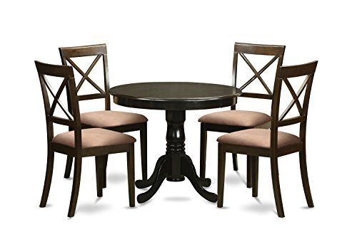 East West Furniture HLBO5-CAP-C 5-Piece Kitchen Table and Chairs Set, Cappuccino Finish