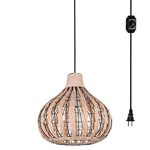 (Kiven Handmade Weaving Wood Color Bamboo Rattan Chandelier with 20ft UL Listed Plug-in Dimmable Switch Cord Pendant Lighting Hollow Lampshade E26 Bulb Not Included TB0241-W-6M)