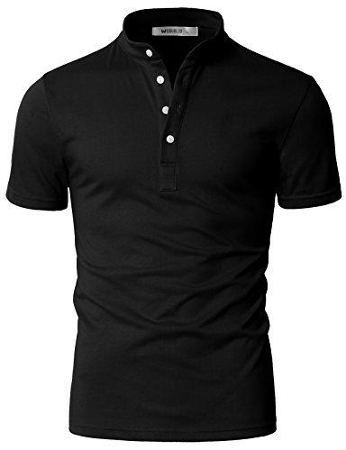 DANDYCLO Mens Henley Neck Casual Short Sleeve Polo Button T-Shirt