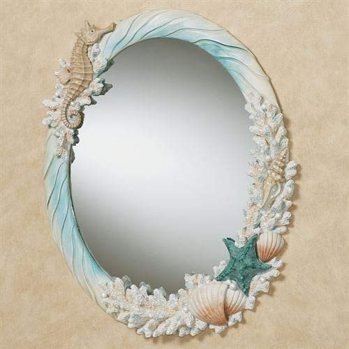 Touch of Class Coral Medley Oval Wall Mirror Multi - Mirrors Ocean Bathroom Blue