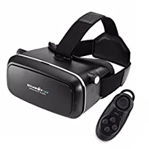 BlitzWolf VR Headset 3D Viewer Glasses + Remote Controller, Virtual Reality Box Movies Games Helmet Google Cardboard Upgraded for IOS iPhone 6 6s plus, Android Samsung Galaxy S5 S6 S7 Edge Note 4 5
