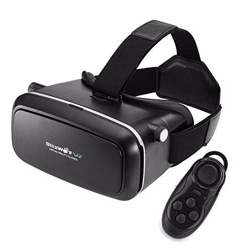 3D VR Brille, BlitzWolf 3D Virtual Reality Headset Brille mit Bluetooth Fernbedienung Google Pappkarton Upgraded Version für IOS iPhone SE 6 6s plus, Android Samsung Galaxy S5 S6 S7 Edge Note 4 5 (Schwarz)