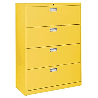 "Sandusky Lee LF6A424-EY 600 Series 4 Drawer Lateral File Cabinet, 19.25"" Depth"