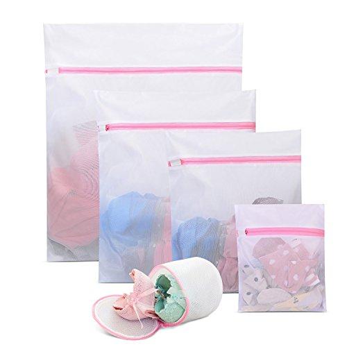 ELValley Mesh Laundry Bags, Set of 5 Bra Lingerie Wash Bag Travel Wash Bag for Bras, Delicates, Blouse, Hosiery, Stocking, Underwear (Multi-Size, White)