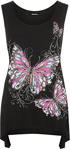 Butterfly Plus Size T-shirt (WearAll Women's Plus Size Butterfly Print Hanky Hem Ladies Sleevleess Long Top - Black - US 12-14 (UK 16-18))