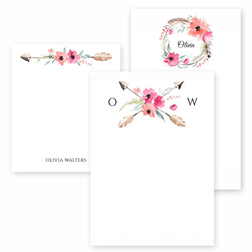 Custom Boho Spirit Note Pad Set Personalized Stationery - 50 Sheets per Note pad - 3 Designs and Sizes: 4.25x5, 4.25x6, 4.25x7. Made in The USA.