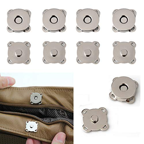 (20 Sets Magnetic Snaps Button for Purse Handbag Wallet Overcoat Bag 19 mm Silver Fasteners Snap Buttons (19mm))