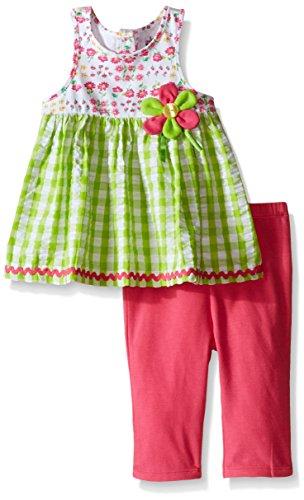 Kids Headquarters Little Girls' Printed Jersey/Seersucker Gingham Tunic and Capri, Multi, 4