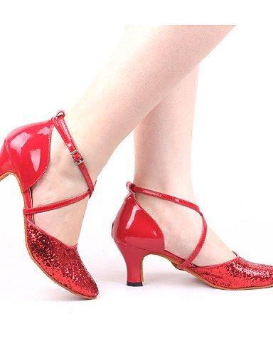 ShangYi Gold Cuban Red Heel Dance Leatherette Shoes Black Customizable Gold Paillette Modern Women's Blue Non Pink Silver rqprg