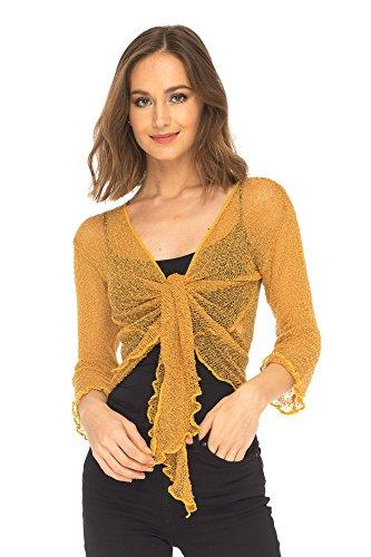 SHU-SHI Womens Sheer Shrug Tie Top Cardigan Lightweight Knit,Gold,One Size