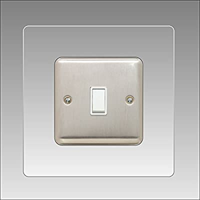 5 X SINGLE LIGHT SWITCH SURROUND CLEAR ACRYLIC PERSPEX® FINGER PLATE