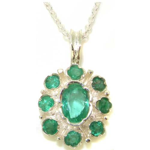 Ladies Solid 925 Sterling Silver Natural Emerald Pendant Necklace with English Hallmarks