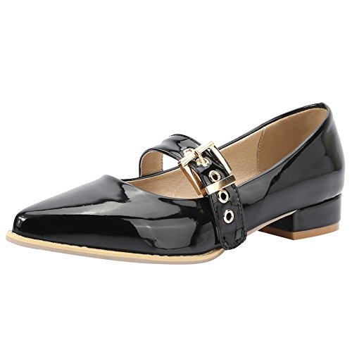Mee Shoes Damen Niedrig instep strap Schnalle Pumps Schwarz
