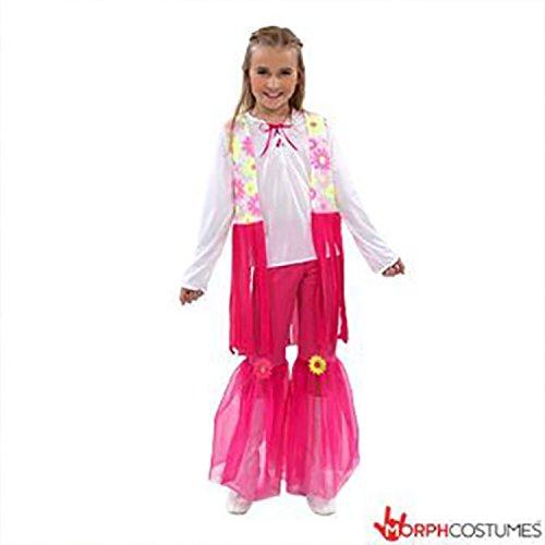 [1970s Girls Flower Hippie Costume - Pink] (Girls 70s Costume)