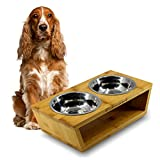 Raised Dog Bowls - Elevated Double Bowl Feeding Station for Dogs and Cats - Made of Eco-Friendly Bamboo with 2 Removable Stainless Steel Food Bowls