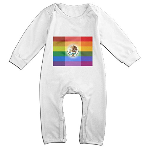 Price comparison product image ONE SUIT Mexican Rainbow Flag Long-Sleeve Baby Bodysuit Baby Clothes Toddler Onesies Boys Girls Romper Jumpsuit Outfits