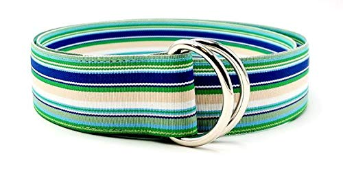 (Ribbon Belts for Men (M Blue Lagoon Belt) Men's Belt D-Rings Solid or Striped)