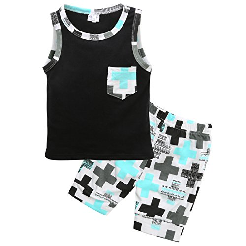 Zaaale Baby Boys Girl's Summer Cotton Sleeveless T-Shirt Vest+ Short Pants Clothes Outfit Set (80(12-18M Baby), Criss Cross) Vest Pants Shorts