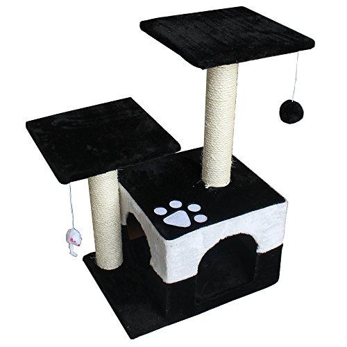 America Phoenix Multi Color Newest Cat Tree Condo Furniture Scratch Post Perch Post Pet House Perch Activity Trees (Black, 30-Inch)
