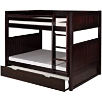 Camaflexi Panel Style Solid Wood Full-Over-Full Bunk Bed with a Twin Trundle, Side Attached Ladder, Cappuccino