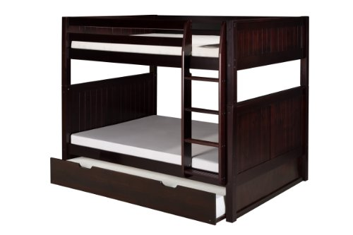 Camaflexi Panel Style Solid Wood Full-Over-Full Bunk Bed with a Twin Trundle, Side Attached Ladder, Cappuccino For Sale
