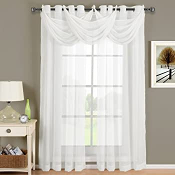 Luxury Abri White Grommet Crushed Sheer Curtain, 50x84 inches, by Royal Hotel