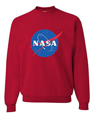 Mens Crew Red Logo Sweatshirt (Go All Out Screenprinting Small Red Adult NASA Logo Sweatshirt Crewneck)