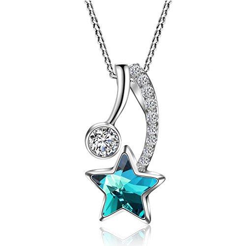 Venus Shooting Star Engraved Bermuda Blue Round Star Pendant Necklace Made With Swarovski Crystals