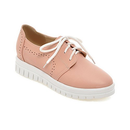 BalaMasa Ladies Hollow Out Bandage Platform Urethane Flats Shoes Pink Ahc8B7nGE