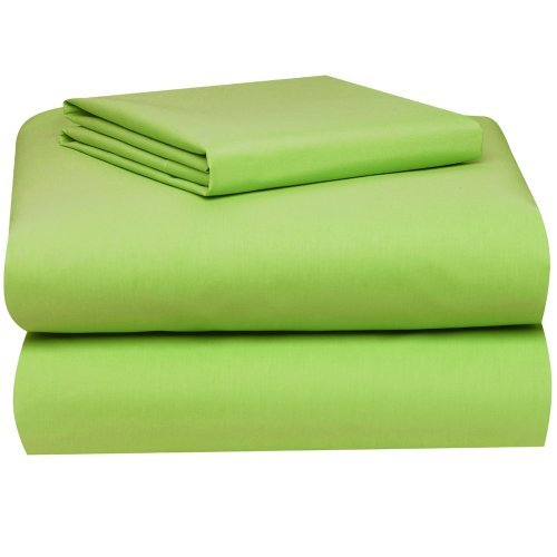 Twin Micro Fiber Sheet Set - Soft and Comfy - By Crescent Bedding Lime Green Twin (Sets Green Bedding Lime)