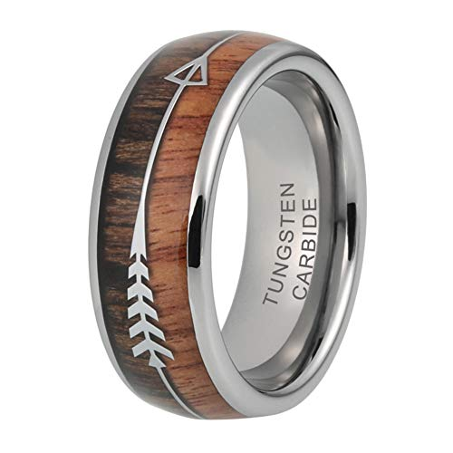 iTungsten 8mm Mens Tungsten Carbide Rings Wedding Bands Koa Wood Arrow Inlay Hunting Jewelry