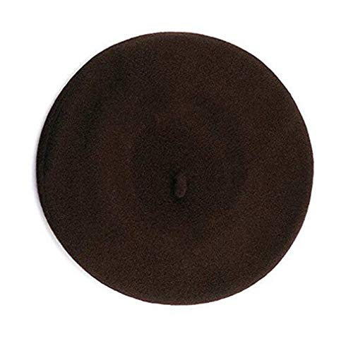 Fashion Women Beret, TheBigThumb French Style Winter Cap Casual Classic Solid Color Wool Beret Hat for Women Ladies Girls, Brown Brown Small French Hat