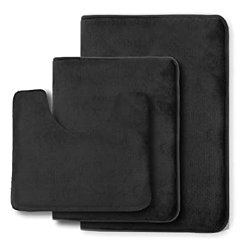 Clara Clark Non Slip Memory Foam Tub-Shower Bath Rug Set, Includes 1 Small Size 17 x 24 in. 1 Large Size 20 X 32 in. 1 Contour Rug 24 x 19 In. - Black