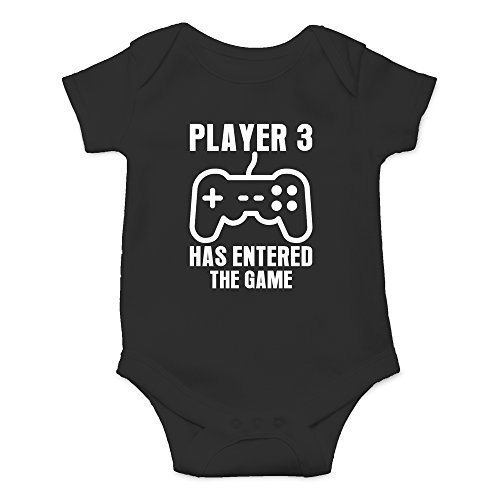 Crazy Bros Tee's Player 3 Has Entered The Game - Gamer Baby Funny Cute Novelty Infant One-Piece Baby Bodysuit (6 Months, Black)
