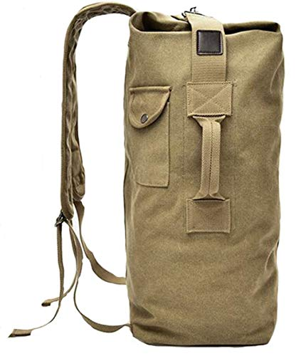 e27be9e398690 Military Duffel Bag Top Load Double Strap Canvas Backpack Army Travel b