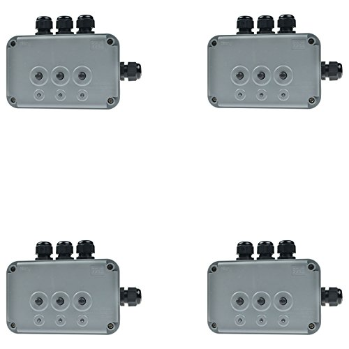 SuperInk 4 Pack 15A 125VAC 3-Gang Power Control Switch Junction Box Weatherproof Outdoor Switched with 3 x Push Switches w/indicators and 4 x 20mm Cable Gland IP66 - Preminum Outlet