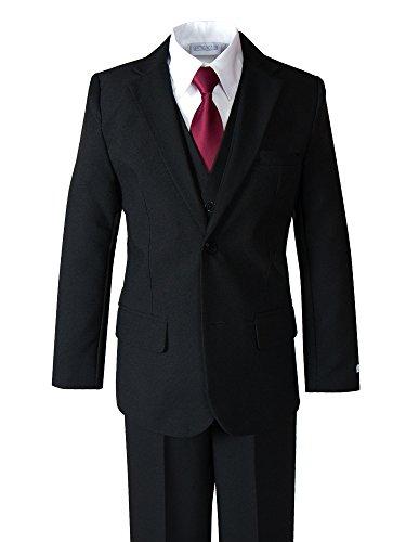 Spring Notion Big Boys' Modern Fit Dress Suit Set 12 Black w/Burgundy Tie