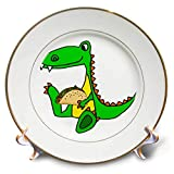 3dRose All Smiles Art - Animals - Cute Funny Unique Sitting Baby Alligator Eating Taco Cartoon - 8 inch Porcelain Plate (cp_291141_1)