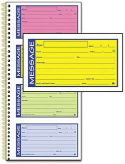 Adams Spiralbound Telephone Message Book with Bright Multicolor Forms BOOK,PHONE MESSAGE,ASST Pack of10