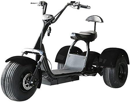 Black, 20AH 30 Miles Matte Black, 20AH eDrift UH-ES395 Fat Tires 3-Wheel Electric Chopper Trike Scooter Moped with Shocks Harley E-Bike