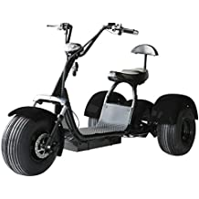 eDrift UH-ES395 Fat Tires 3-Wheel Electric Chopper Trike Scooter Moped with Shocks Harley E-Bike (Matte Black, 12AH 21 Miles)