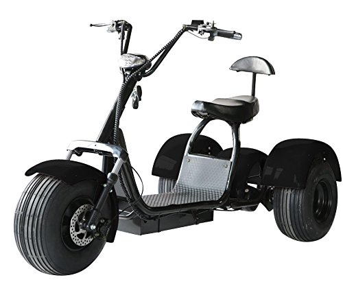 eDrift UH-ES395 Fat Tires 3-wheel Electric Chopper Trike Scooter Moped with Shocks Harley E-Bike (Matte Black, 20AH) -