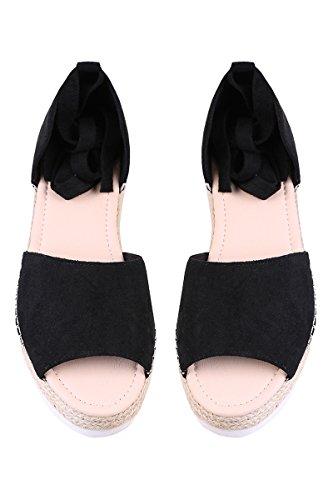 Pxmoda Womens Fashion Style Flip-flop Sandals Flat Womens Sandals Bandage Sandals (40, Black)