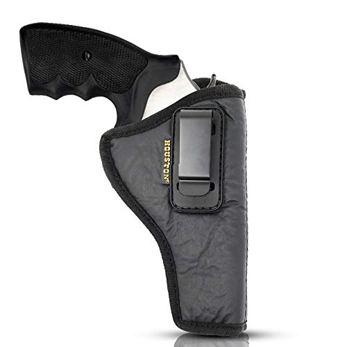 IWB Revolver Holster by Houston - ECO Leather Concealed Carry Soft Material | Suede Interior for Protection | (Right) FITS:Revolvers K,L,M & N Frames,5 & 6 Shots,3.5