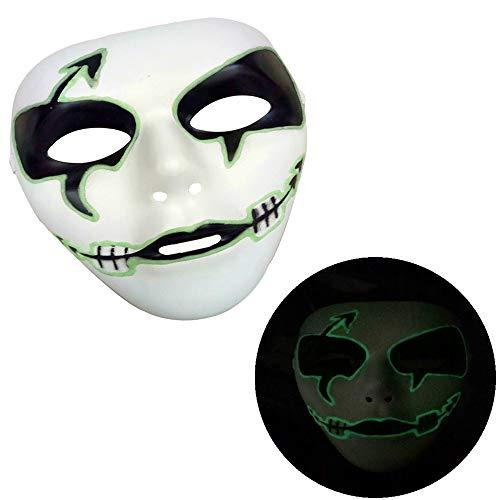 Cywulin Halloween Party Scary Props Luminous Skeleton Skull Mask Full Face Light Up Horror Cosplay Costume for Men Women Kids -