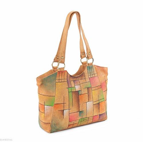HYDESTYLE sumatrana (II) Manu handbemalt Shopper 26 x 32 x 10 LB20) Abstract Square DrofK