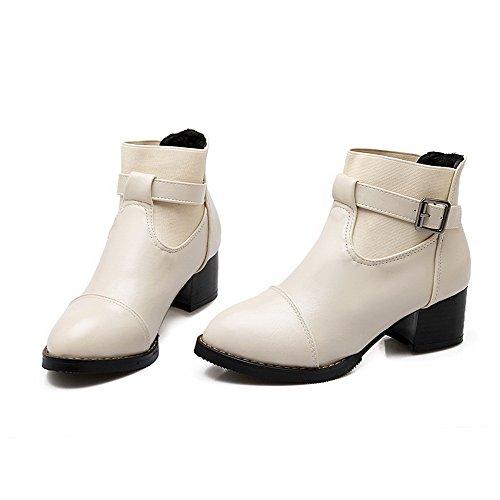VogueZone009 Damen Blend-Materialien Schließen Zehe Stiefel Cremefarben-Blockabsatz