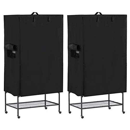 Yaheetech 2 Sets Large Bird Cage Cover Black Good Night Bird Cage Cover w/Mesh Window & Storage Pocket 41.3in x 27.6in x 48in by Yaheetech
