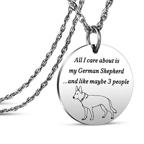 JanToDec Jewelry All I Care Bout is My German Shepherd Necklace German Shepherd Gifts Dog Lover Pendant Necklace for Women ()